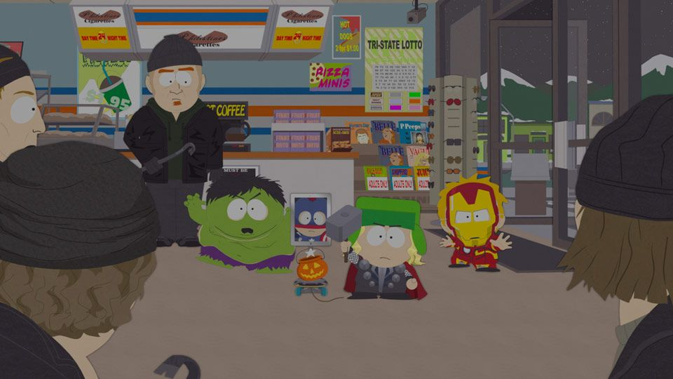 The boys witness a robbery and put their Avengers costumes to the test