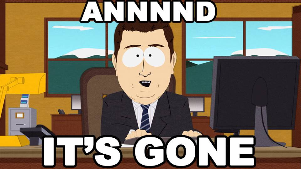 AANNND it's gone. | News | South Park Studios US